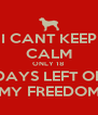 I CANT KEEP CALM ONLY 18  DAYS LEFT OF MY FREEDOM - Personalised Poster A4 size