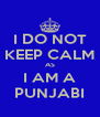 I DO NOT KEEP CALM AS I AM A PUNJABI - Personalised Poster A4 size