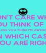 I DON'T CARE WHAT YOU THINK OF ME UNLESS YOU THINK I'M AWESOME IN WHICH CASE YOU ARE RIGHT - Personalised Poster A4 size