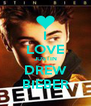 I LOVE JUSTIN DREW BIEBER - Personalised Poster A4 size