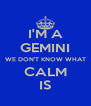 I'M A GEMINI WE DON'T KNOW WHAT CALM IS - Personalised Poster A4 size