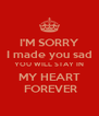 I'M SORRY I made you sad YOU WILL STAY IN MY HEART  FOREVER - Personalised Poster A4 size