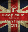 I will not  Keep calm  But you sir Can fuck Off - Personalised Poster A4 size