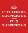 IF IT LOOKS SUSPICIOUS THEN IT IS SUSPICIOUS - Personalised Poster A4 size