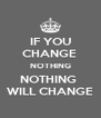IF YOU CHANGE  NOTHING NOTHING  WILL CHANGE - Personalised Poster A4 size