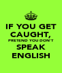 IF YOU GET CAUGHT, PRETEND YOU DON'T SPEAK ENGLISH - Personalised Poster A4 size