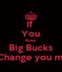 If  You Keep Big Bucks I'm go Change you my nigga - Personalised Poster A4 size