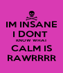IM INSANE I DONT  KNOW WHAT CALM IS RAWRRRR - Personalised Poster A4 size