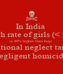 In India   death rate of girls (< 5yrs) is 40% higher than boys  due to intentional neglect tantamount to negligent homicide - Personalised Poster A4 size