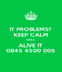IT PROBLEMS? KEEP CALM CALL ALIVE IT 0845 4500 005 - Personalised Poster A4 size