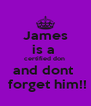 James is a  certified don  and dont   forget him!! - Personalised Poster A4 size