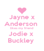 Jayne x Anderson  likes my friend Jodie x  Buckley  - Personalised Poster A4 size