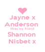 Jayne x Anderson  likes my friend Shannon  Nisbet x - Personalised Poster A4 size
