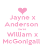 Jayne x Anderson  loves  William x McGonigall  - Personalised Poster A4 size