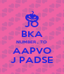 JO BKA NUMBER , TO AAPVO J PADSE - Personalised Poster A4 size