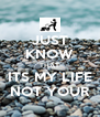 JUST KNOW THAT ITS MY LIFE NOT YOUR - Personalised Poster A4 size