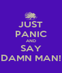 JUST PANIC AND SAY DAMN MAN! - Personalised Poster A4 size