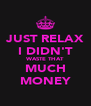 JUST RELAX I DIDN'T WASTE THAT MUCH MONEY - Personalised Poster A4 size