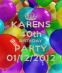 KARENS 40th BIRTHDAY PARTY 01/12/2012 - Personalised Poster A4 size