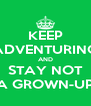 KEEP ADVENTURING AND STAY NOT A GROWN-UP - Personalised Poster A4 size