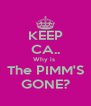 KEEP CA.. Why is  The PIMM'S GONE? - Personalised Poster A4 size