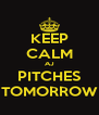 KEEP CALM AJ PITCHES TOMORROW - Personalised Poster A4 size