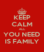 KEEP CALM ALL YOU NEED IS FAMILY - Personalised Poster A4 size
