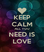 KEEP CALM ALL YOU NEED IS LOVE - Personalised Poster A4 size