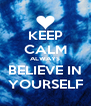 KEEP CALM ALWAYS BELIEVE IN YOURSELF - Personalised Poster A4 size