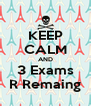 KEEP CALM AND 3 Exams R Remaing - Personalised Poster A4 size