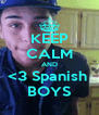 KEEP CALM AND <3 Spanish  BOYS - Personalised Poster A4 size