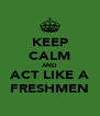 KEEP CALM AND ACT LIKE A FRESHMEN - Personalised Poster A4 size