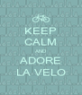 KEEP CALM AND ADORE LA VELO - Personalised Poster A4 size