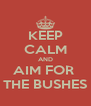 KEEP CALM AND AIM FOR  THE BUSHES - Personalised Poster A4 size