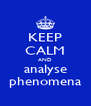 KEEP CALM AND analyse phenomena - Personalised Poster A4 size