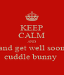 KEEP CALM AND and get well soon cuddle bunny  - Personalised Poster A4 size