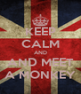 KEEP CALM AND AND MEET A MONKEY - Personalised Poster A4 size