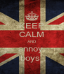 KEEP CALM AND annoy  boys  - Personalised Poster A4 size