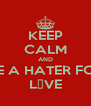 KEEP CALM AND BE A HATER FOR L♥VE - Personalised Poster A4 size
