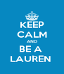 KEEP CALM AND BE A  LAUREN  - Personalised Poster A4 size