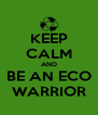 KEEP CALM AND BE AN ECO WARRIOR - Personalised Poster A4 size