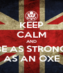 KEEP CALM AND BE AS STRONG AS AN OXE - Personalised Poster A4 size