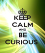 KEEP CALM AND BE CURIOUS  - Personalised Poster A4 size