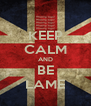 KEEP CALM AND BE LAME - Personalised Poster A4 size