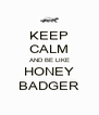 KEEP CALM AND BE LIKE HONEY BADGER - Personalised Poster A4 size