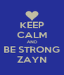 KEEP CALM AND BE STRONG ZAYN - Personalised Poster A4 size