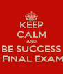 KEEP CALM AND BE SUCCESS ON FINAL EXAM '13 - Personalised Poster A4 size
