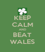 KEEP CALM AND BEAT WALES - Personalised Poster A4 size