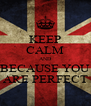 KEEP CALM AND BECAUSE YOU ARE PERFECT - Personalised Poster A4 size