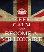 KEEP CALM AND BECOME A  MILLIONAIRE - Personalised Poster A4 size